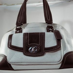Coach Off-White and Brown Pebble Leather Satchel